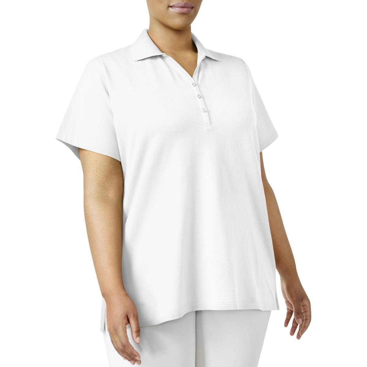 Karen Scott Womens Plus Collared Split Neck Polo Top White 1X