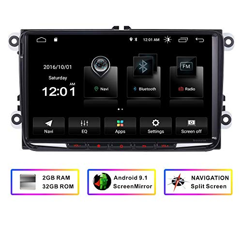 9 Inch Car Stereo Double Din FM Radio for VW Jetta Golf MK5 EOS Passat Seat,Andriod HD Touchscreen Quad Core GPS System Bluetooth WiFi Mirror Link 4G Split Screen 32G ROM (Best App To Listen To Music Offline On Iphone)
