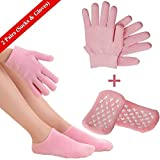 Moisturizing Gloves and Spa Socks, Soft Cotton Gel Moisture Gloves and Socks for Man & Women in Dry Skin Hands and Feet Overnight Use (1 x Pair Gloves & Socks)