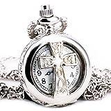 TD Unisex Cross Christian Vintage Silver Hollow Quartz Pocket Watch Long Sweater Chain Necklace + Gift BOX