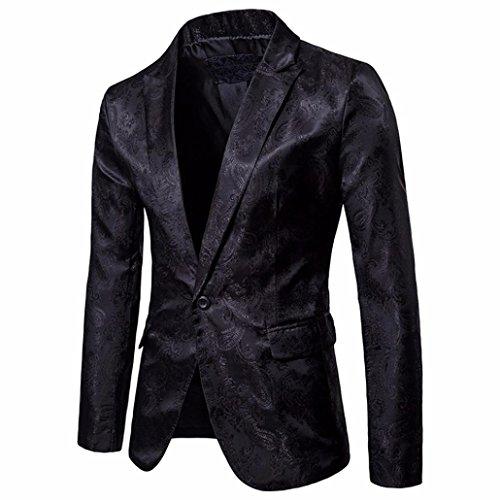 YJYdada Charm Men's Casual One Button Fit Suit Blazer V Neck Coat Jacket Tops (Black, M) by YJYdada