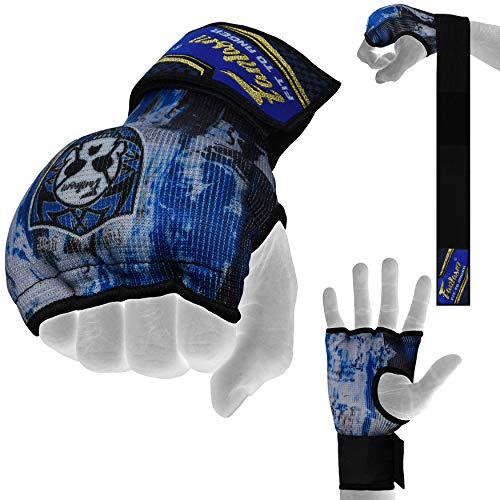 Fantasm Sports Karate Mit Blue Sublimation Punching Elasticated Padded Bandages Under Mitts - Quick Long Wrist Support, Fist Protector - Great for MMA, Muay Thai, Kickboxing & Martial Arts