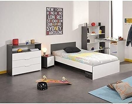 STANLEY Chambre enfant complete style contemporain decor blanc et gris  ombre - l 90 x L 190 cm