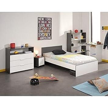 STANLEY Chambre enfant complete style contemporain decor blanc et ...