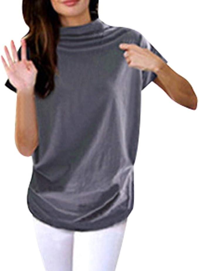 Auifor Cuello Alto para Mujer Manga Corta Algodón Sólido Blusa Informal Top T Shirt Tallas Grandes: Amazon.es: Ropa y accesorios