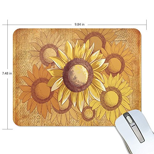 Funny Mouse Pad Personalized Vintage Chic Paper Sunflower Silicone Rectangle Shape for Office Computer Work (9.9 x 7.5 ()