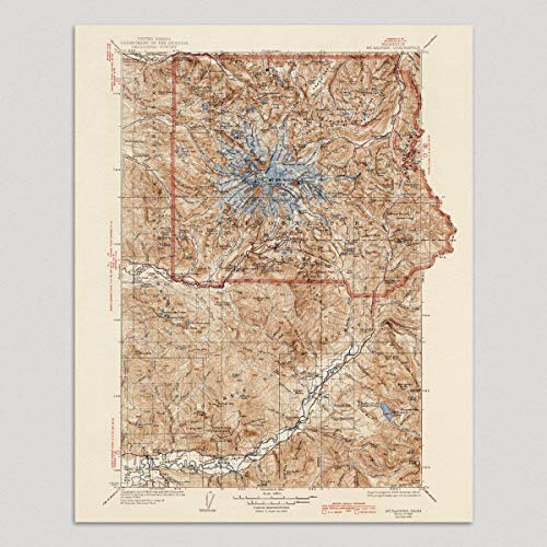 Mount Rainier National Park Map Art Print, 1928, Vintage USGS Topographic Map, Archival Reproduction, Unframed