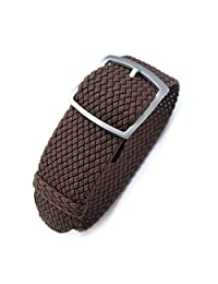 20mm MiLTAT Perlon Watch Strap, Braided Nylon Brown, Sandblasted Ladder Lock Buckle