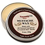 Taconic Shave Premium Mustache Wax - All Natural - Artisan Made in the USA - 2 Oz Size (Double the size of most others)
