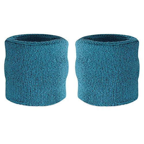 Suddora Wrist Sweatbands - Athletic Cotton Terry Cloth Wrist Bands for Basketball, Tennis, Football, Baseball (Pair) (Teal)