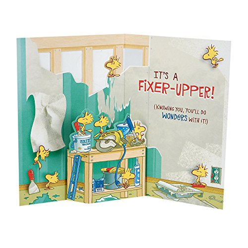 Hallmark Funny Peanuts Pop Up Fathers Day Card (Snoopy and Woodstock Fixer-Upper)