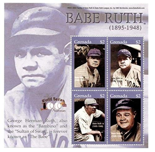 (Baseball Hall of Fame Legends - Babe Ruth - Rare Collectors Stamps - Grenada)