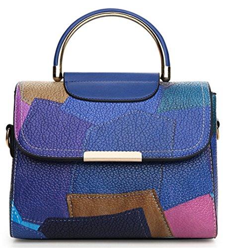 La mujer Dama Xinmaoyuan Bolsos Bolso cosido de color Color transversal oblicua Handbag,azul Blue