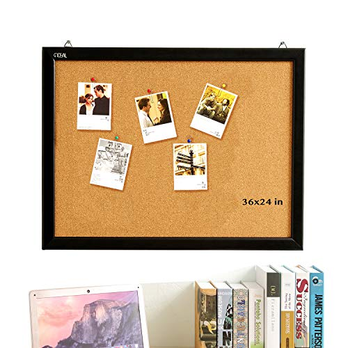 Cork Board 24 x 36 Inch Bulletin Board, Cork Notice Board 100% Wood Framed Brazil Imported, Mounting Hardware Push Pins Included (Hardware Board)