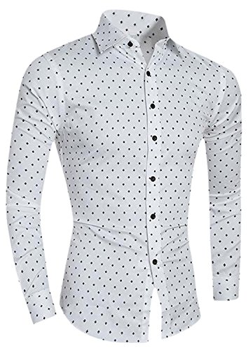 Labaqiangj Fashion Mens Long-Sleeve Polka Dot Fit Western Shirt WhiteUS S=China L (Leather Polka Portfolio Dot)
