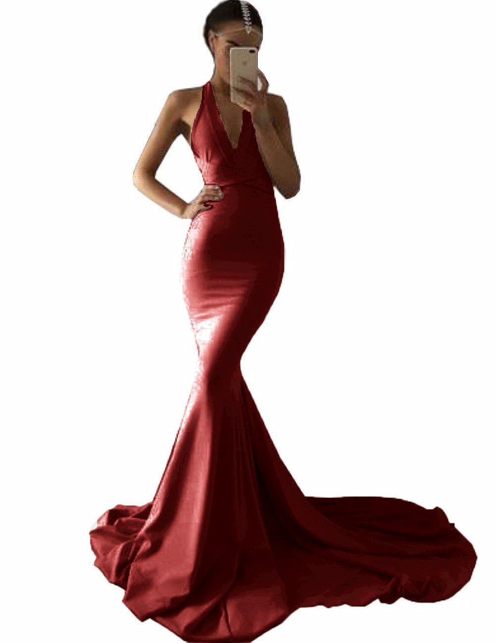 Burgundy MariRobe Women's Deep V Neck Backless Evening Dress Spandex Mermaid Formal Party Dress Prom Gown 2019