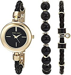 Anne Klein Women's AK/2766ONYX Gold-Tone and Black Leather Watch and Bracelet Set