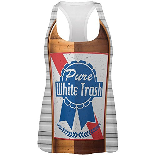 Old Glory 4th of July Halloween Pure White Trash Beer Costume All Over Womens Work Out Tank Top Multi MD