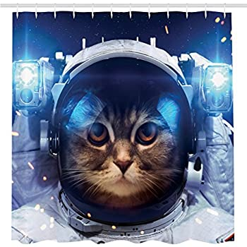 Ambesonne Cat Decorations Shower Curtain By, Astronomy Gifts Astronaut Cat  In Space Graphic Galaxy Cosmos