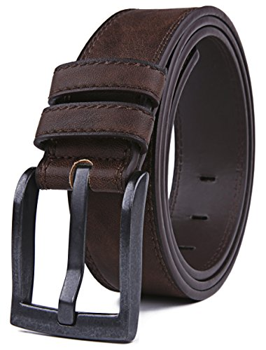 Belts for Men, Classic Stitched Large Width Strap, Regular Tall & Big sizes - Mens Jeans Belt - Handmade (40/42, Dark Brown)