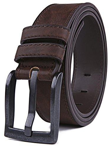 Belts for Men, Classic Stitched Large Width Strap, Regular Tall & Big sizes - Mens Jeans Belt - Handmade (44/46, Dark (Large Mens Belts)