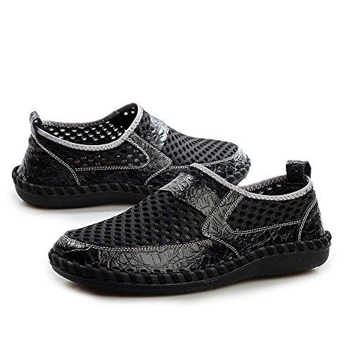 Schuhe 50ZHANGM Männer Atmungsaktive Füße 38 Grid Krokodil Faule Mesh Größe Hohle Freizeitschuhe Set Mesh Muster Fitness Schuhe Schuhe Flut Schwarz LIANGXIE Fx4Yww