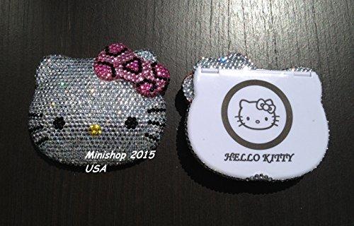 minishop2015 Bling Bling Hello Kitty Compact Mirror Handmade with Crystals ^Pink Cheetah Bow - Hello Princess Mirror Kitty