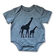 Newborn Baby Safari Animal Print Onsie Romper Bodysuit (0-6 months,Gray Giraffe)