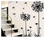 perfect dandelion wall decals Ymibull PVC Dandelion Flower Plant Tree Large Removable Home Wall Decal (A)