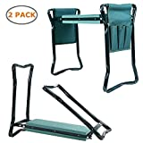 Ohuhu Garden Kneeler and Seat, Soft Kneeling Pad Foldable Gardening Stool with 2 Bonus Tool Pouches (2 pack)