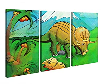 Amazon De Leinwandbild 3 Tlg Dino Dinos Kinderzimmer Dinosaurier