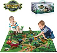 TEMI Dinosaur Toy Figure w/ Activity Play Mat & Trees, Educational Realistic Dinosaur Playset to Create a