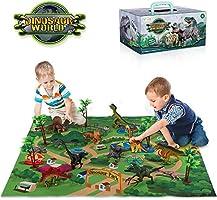 TEMI Dinosaur Toy Figure w/ Activity Play Mat & Trees, Educational Realistic Dinosaur Playset to Create a Dino World...