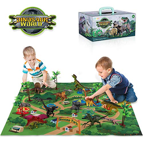 Dinosaur Educational Toys (TEMI Dinosaur Toy Figure w/ Activity Play Mat & Trees, Educational Realistic Dinosaur Playset to Create a Dino World Including T-Rex, Triceratops, Velociraptor, Perfect Gifts for Kids, Boys &)
