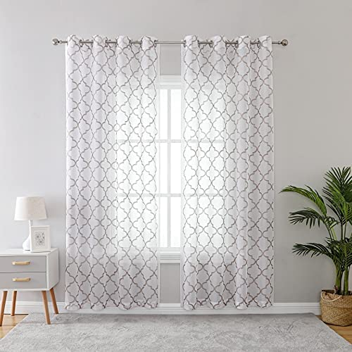 KEQIAOSUOCAI Taupe Semi Sheer Moroccan Tile Embroidered Window Curtains Grommet Faux Linen Draperies 2 Panels 52×84 Inches Long