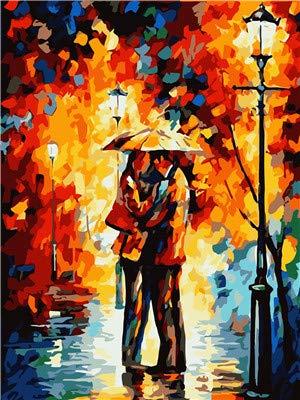 Vacio Pintura por Numeros para Adultos DIY Pintura al oleo sobre Amantes bajo la Lluvia Dorada de otono Lienzo Pintar por Numeros para Adultos Principiantes 40x50cm (Sin Marco)