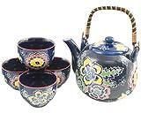 Japanese Botan Peony Flower Tea Set Ceramic Teapot with Rattan Handle and 4 Tea Cups (Blue)