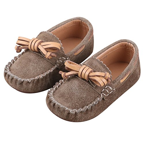 Jamron Little Girls Boys Cute Bowknot Suede Loafer Slippers Toddler Soft Handmade Moccasins SN03319 Brown US6.5M Toddler