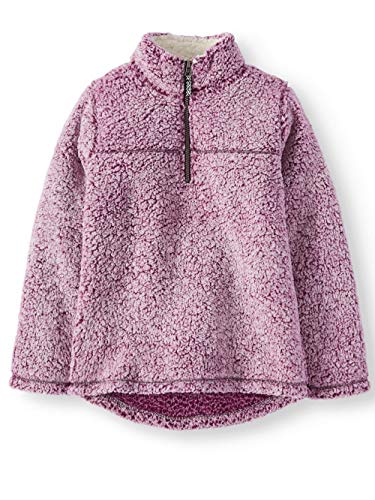 Wonder Nation Girls Quarter Zip Sherpa Pullover (X-Small 4/5, Pearly Purple)