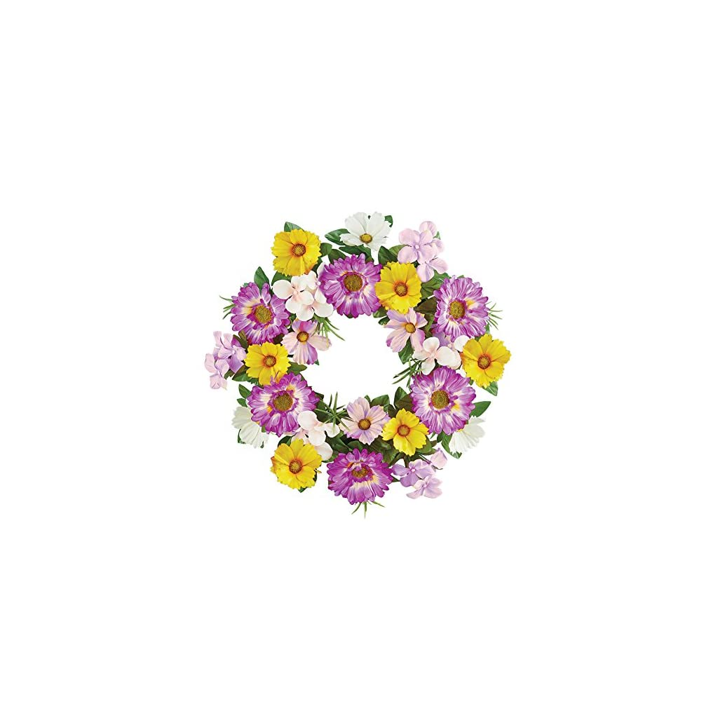 Collections-Etc-Gerber-Daisy-Wildflower-Summer-Front-Door-Wreath-Floral-Decoration-17-Diam