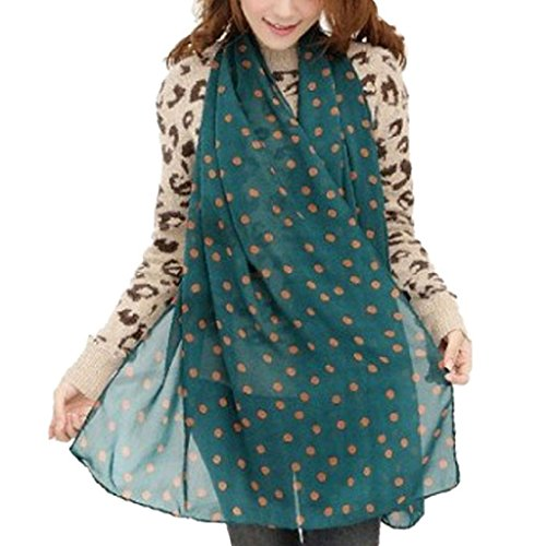 Tsmile Scarfs for women lightweight Large Blanket Wrap Shawl Stylish Girl Women Soft Silk Chiffon Scarf Wrap Polka Dot Shawl (Green)