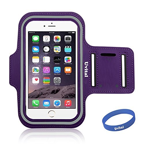 Armband For iPhone 6 PLUS,Uvital®Sport ArmBand Protective Anti-slip Cover Case For iPhone 6 PLUS 5.5/Water Resistant + Sweat Proof + Key Holder + ID / Credit Card / Money Holder(Purple)