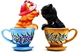 "Custom & Unique {4"" Inch} 2 Pack, Home & Garden ""Standing"" Figurine Decoration Made of Grade A Ceramic w/ Cute Kissing Kittens Cats in Tea Cups Floral Style {Black, Blue, Orange, Pink & White}"
