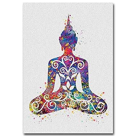 XWArtpic Acuarela Buda Lotus Yoga Pluma India Lienzo Cartel ...