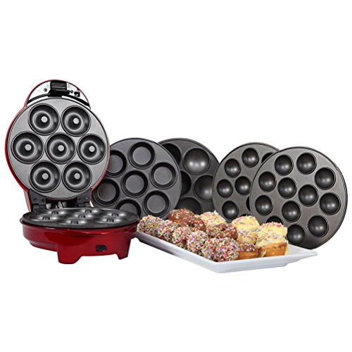 1950's Style Retro Diner 3 in 1 Sweet Snack Maker in Metallic Red - Cup Cakes, Muffins