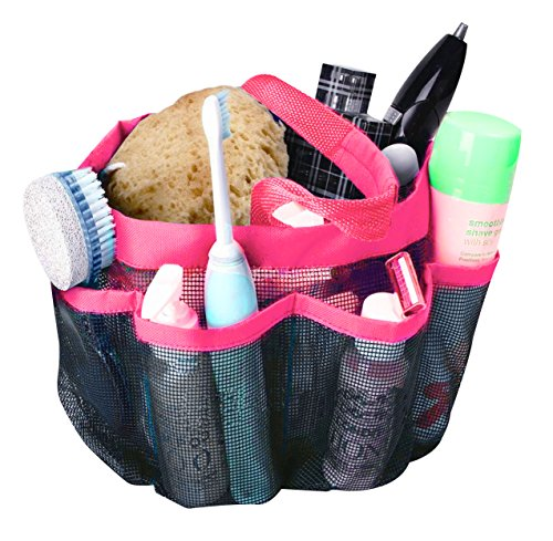 attmu oxford mesh shower caddy, shower tote, shower bag, bathrooms bag, pink