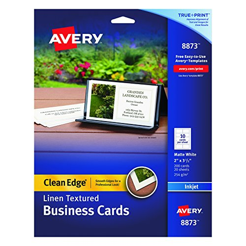 Avery 8873 Linen Texture True Print Business Cards, Inkjet, 2 x 3 1/2, Linen White (Pack of 200) (Business Card Printing)