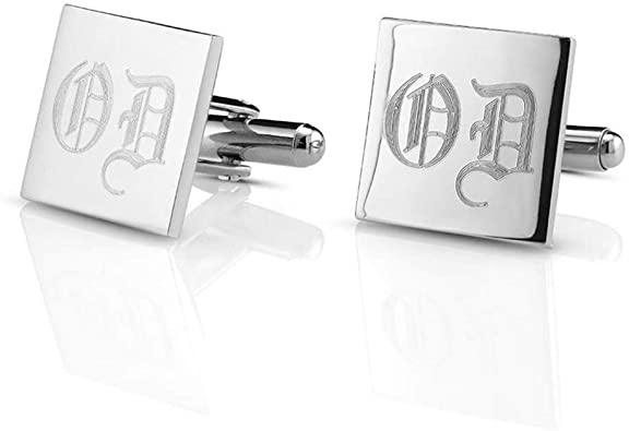 Personalized Mens Cufflinks Custom Initial Cufflinks  with Cufflink Box Monogram Cufflinks