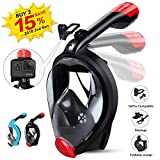 HENGBIRD Snorkel Mask with Detachable Camera Mount, Foldable Easybreath Full Face Scuba Mask Snorkeling Mask with 180° Panoramic View Anti-fog Anti-leak - 2018 Latest Upgrade Snorkel Set