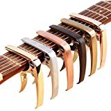 ZEALUX Multifunctional Guitar Capo for Guitars, Ukulele, Banjo, Mandolin, Bass. Ultra Lightweight Aluminum Metal for 4 & 6 & 12 String Instruments - Premium Accessories (Rose Gold)